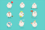 Fototapeta Fototapety na ścianę do pokoju dziecięcego - Funny cute little sheep cartoon characters set for label design. Colorful detailed vector Illustrations isolated on white background