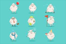 Funny Cute Little Sheep Cartoo...