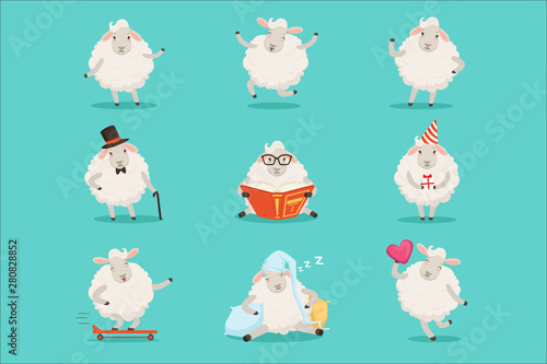 Valokuvatapetti Cute little sheep cartoon characters set for label design