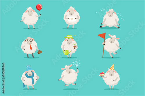 Fotografia Funny cute little sheep cartoon characters set for label design