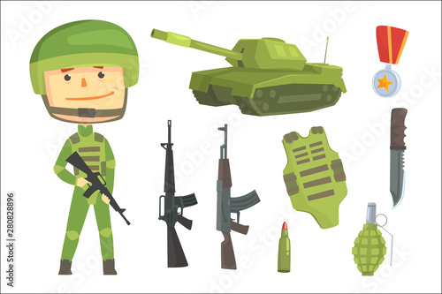 Soldier and professional army weapon, set for label design Fototapete