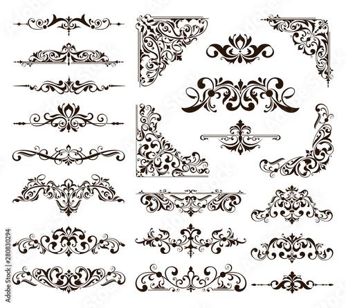 Obraz Ornamental design lace borders and corners Vector set art deco floral ornaments elements - fototapety do salonu