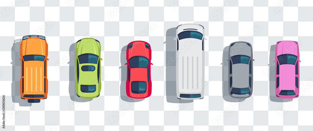 Fototapeta Cars set from above, top view isolated. Cute beautiful cartoon transport with shadows. Modern urban civilian vehicle. View from the bird's eye. Realistic car design. Flat style vector illustration.