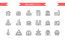 Buildings Icons Set Isolated. ...