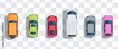 Obraz Cars set from above, top view isolated. Cute beautiful cartoon transport with shadows. Modern urban civilian vehicle. View from the bird's eye. Realistic car design. Flat style vector illustration. - fototapety do salonu