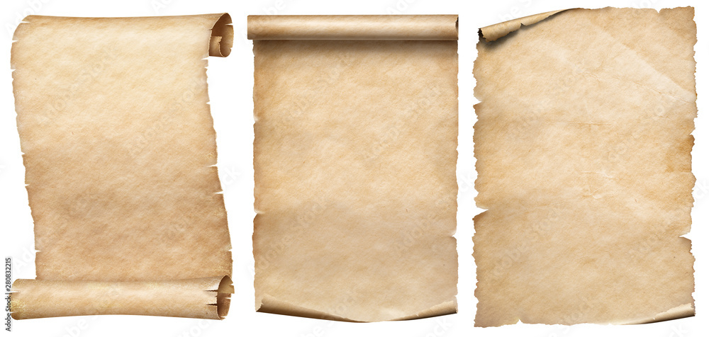 Fototapety, obrazy: Old paper or parchments collection isolated on white