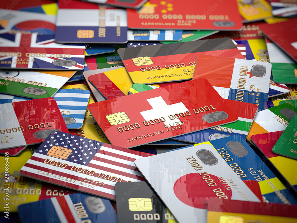 Fototapety, obrazy: Many credit cards of a different  countries. Opening a bank account in any country of the world.