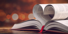 Book With Opened Pages In Form Of Heart. Reading, Religion And Love Concept.