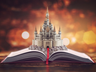 Open story book with fairy tale castle.