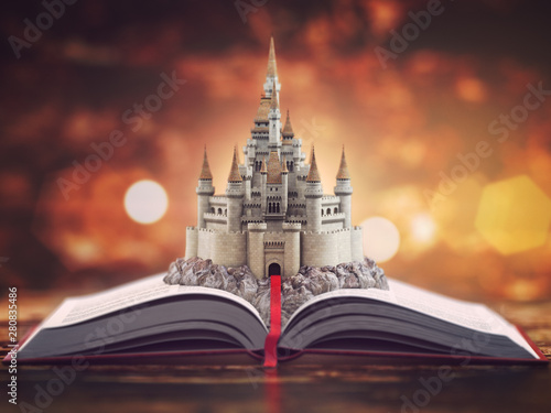 Open story book with fairy tale castle. Wallpaper Mural