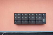 Row Of Mailbox Lock Box Cabine...