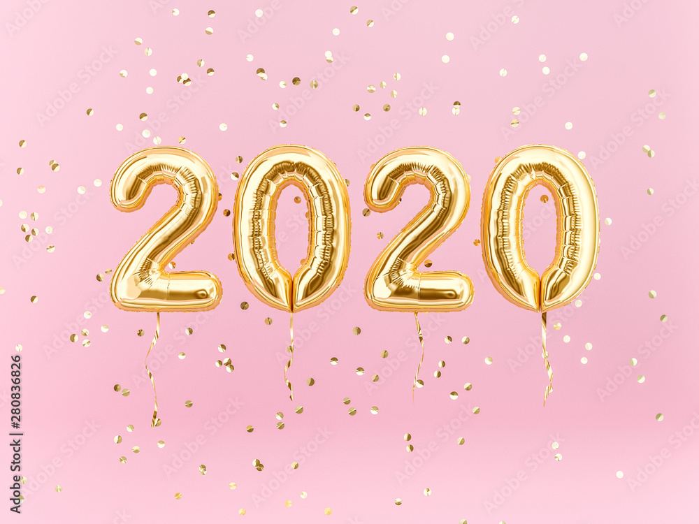 Fototapeta New year 2020 celebration. Gold foil balloons numeral 2020 and confetti on pink background. 3D rendering