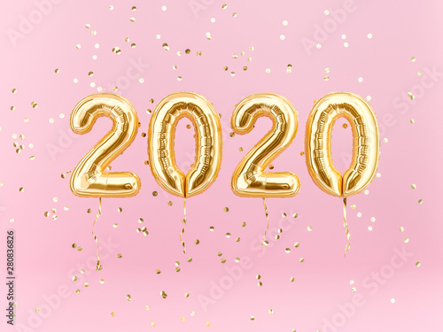 Fototapeta New year 2020 celebration. Gold foil balloons numeral 2020 and confetti on pink background. 3D rendering obraz