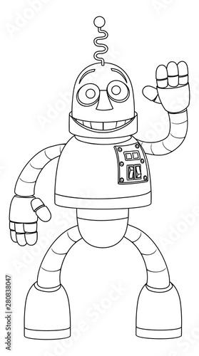 Photo A friendly robot kids coloring cartoon character smiling and waving