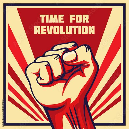Obraz na płótnie Vintage style vector revolution poster