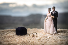 Valentines Day Love Concept. Figurine Of Married Couple Hugging , Couple In Love And Pre-wedding Background Concept.