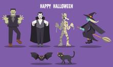 Halloween Ghost Character Set ...