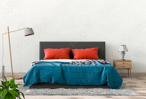 Fotomural  3D render of interior bedroom with decorations.