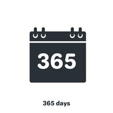 Flat Vector Image On White Background, Black Color Calendar Icon, 365 Days A Year
