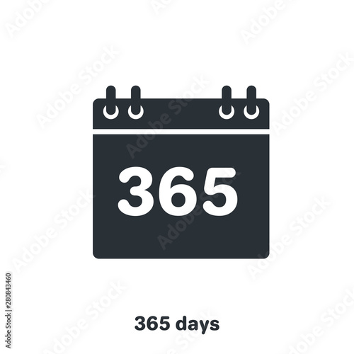 flat vector image on white background, black color calendar icon, 365 days a yea Tapéta, Fotótapéta