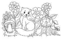 Vector Illustration Zentangl. The Kitten Watches The Enamored Mice Among The Flowers. Coloring Book. The Work Was Done Manually. Anti Stress For Adults And Children. Black And White.