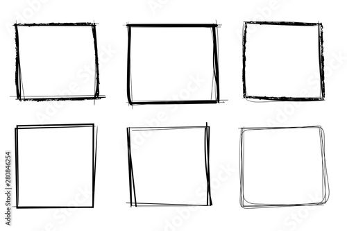 Fotografie, Obraz Squares. Hand drawn shapes. Doodle style