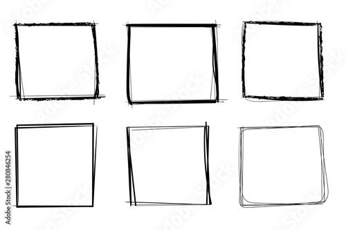 Obraz na plátne Squares. Hand drawn shapes. Doodle style