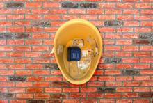 Street Phone On A Brick Wall - Close-up