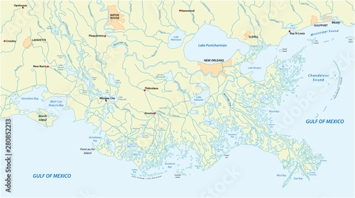 Detailed map of the Mississippi River Delta in the US state ...