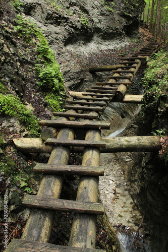 Dangerous trail through a waterfall with wooden ladders in the Slovak Paradise National Park, Slovaki