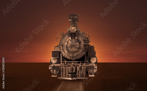 Old steam locomotive in the steppe.