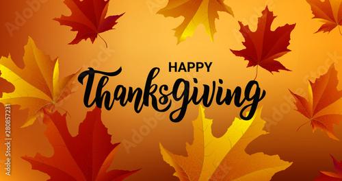 Vászonkép  Happy Thanksgiving hand lettering text