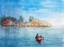 Watercolor Picture Of   A Fisher In A Fishing Boat On The  River At Dusk With Village On  The Backgrounds