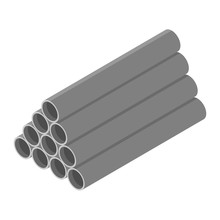Stacked Grey Pvc Pipes Isolate...