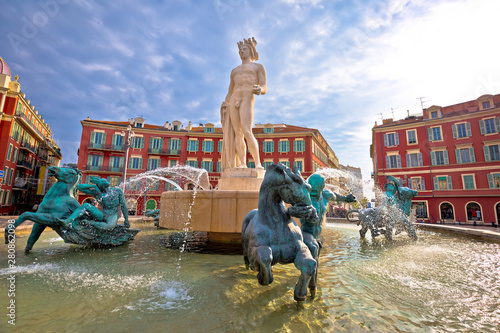 Deurstickers Nice City of Nice Place Massena square and Fountain du Soleil view, tourist destination of French riviera