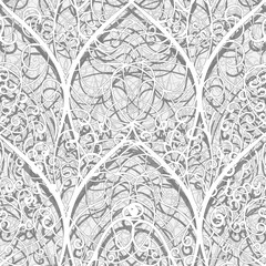 Abstract architectural 3D ethnic background. Stylized arched designs of intertwining thin paper strips.
