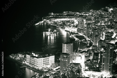 Monte Carlo waterfront evening black and white view
