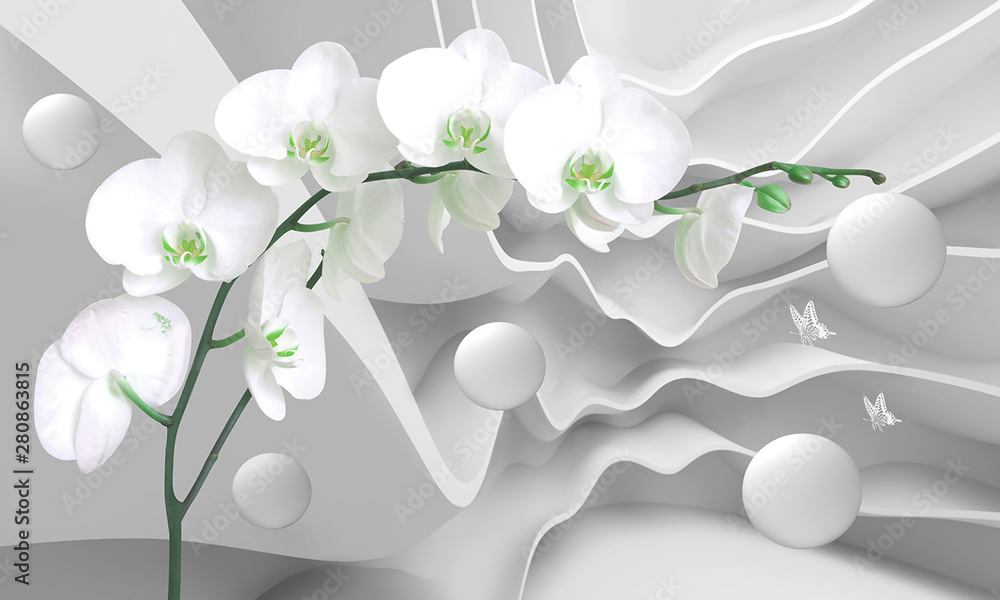Fototapety, obrazy: 3d illustration white curves background  with white flowers