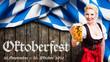 canvas print picture - Oktoberfest 2019 Banner mit junger Frau im Dirndl vor Holzhintergrund
