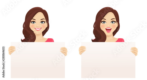 Beautiful smiling excited woman with curly hairstyle holding empty blank board i Fotobehang