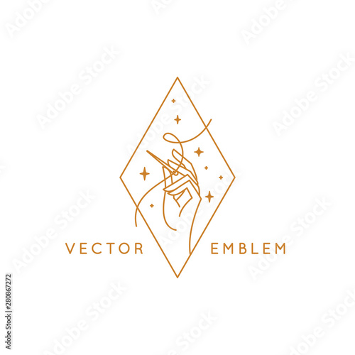 Vector logo design template in linear style - handmade embroidery and fashion Wallpaper Mural