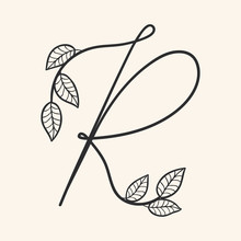 Calligraphy Alphabet. Decorative Handwritten Font. Vector Letter R Decorated With Leaves, Florals. Wedding Calligraphy. ABC For Your Design. Floral Lettering. Monogram, Logo Branding