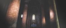 Dark Church Interior Columns Sun Rays Light Horizontal Panoramic