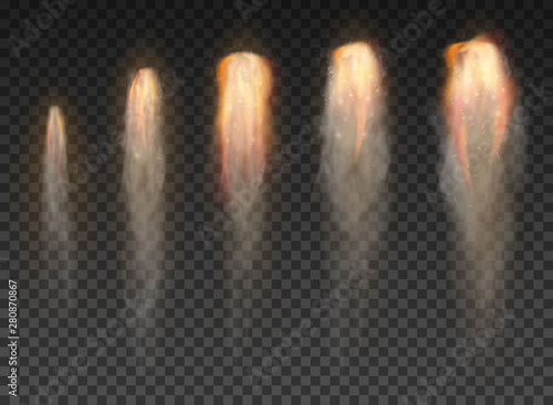 Fotografie, Obraz Space rocket bomb Smoke isolated on transparent background