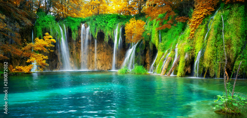 Exotic waterfall and lake landscape of Plitvice Lakes National Park, UNESCO natural world heritage and famous travel destination of Croatia Wallpaper Mural