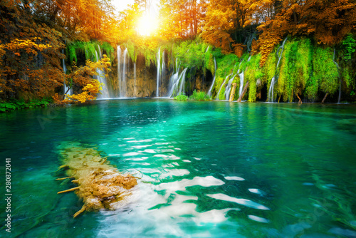 Foto auf Gartenposter Wasserfalle Exotic waterfall and lake landscape of Plitvice Lakes National Park, UNESCO natural world heritage and famous travel destination of Croatia. The lakes are located in central Croatia (Croatia proper).
