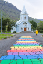 Seydisfjordur City Church Close Up, Iceland Landmark