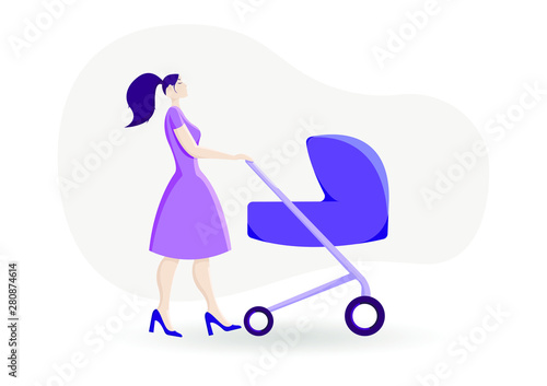 Young mom with a baby in her pram.