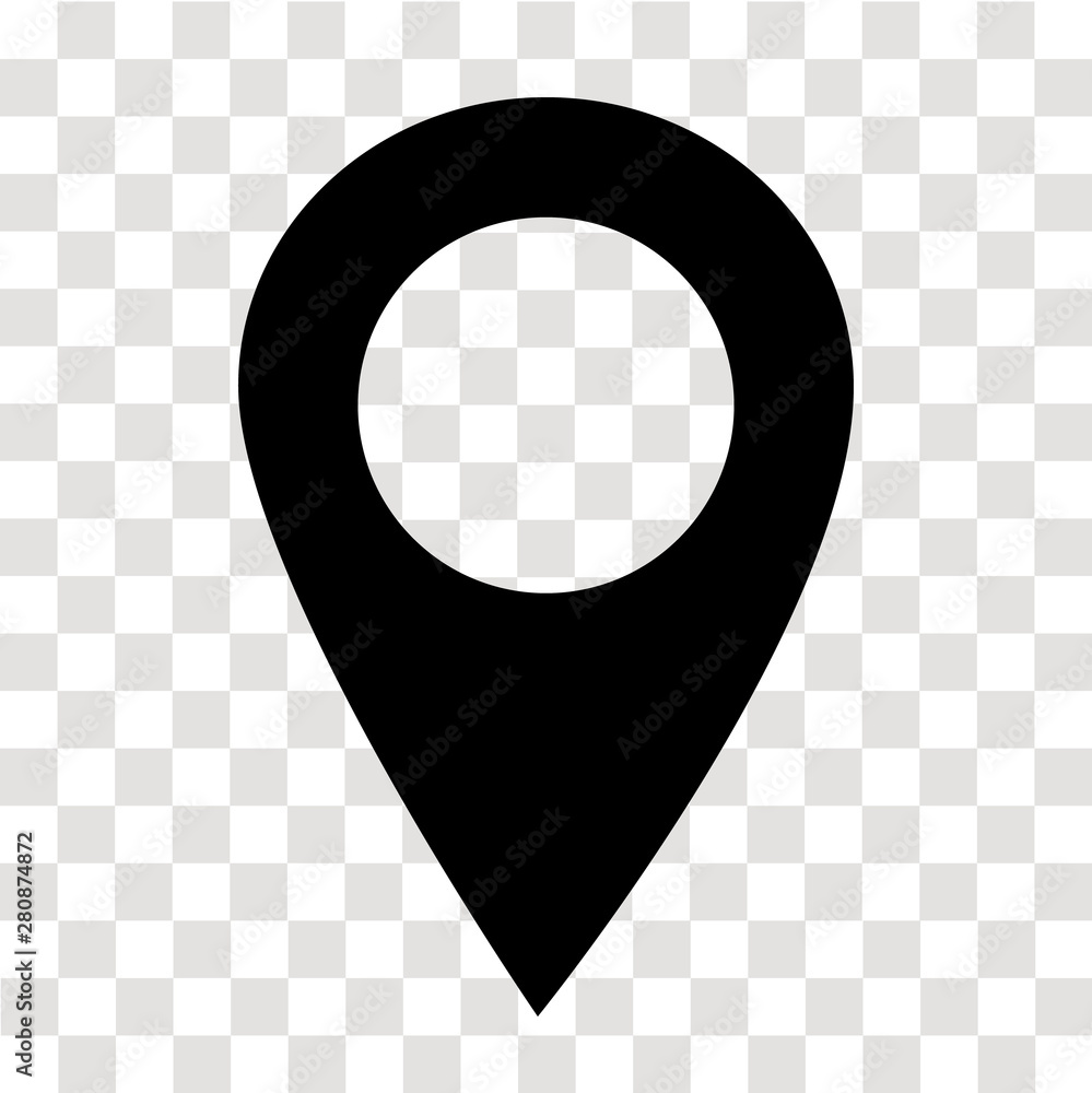 Fototapeta location pin icon on transparent. map marker sign. flat style. map point symbol. map pointer symbol. map pin sign.