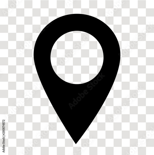Obraz location pin icon on transparent. map marker sign. flat style. map point symbol. map pointer symbol. map pin sign. - fototapety do salonu